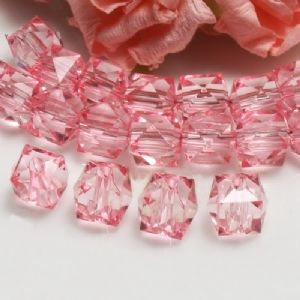 Beads, Imitation Crystal beads, Acrylic, pink, Faceted Cubes, 10mm x 10mm x 10mm, 18g, 40 Beads, [SLZ0542]